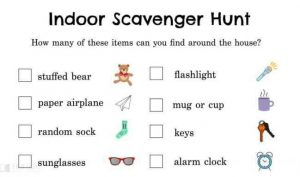 Scavenger hunt items for kindergarten kids